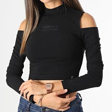 Project X Paris - Tee Shirt Manches Longues Femme Crop F212049 Noir