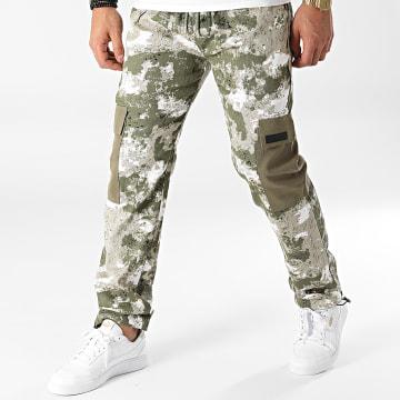 Sixth June - Pantalon Cargo Camouflage M12020VPA Vert Kaki Blanc