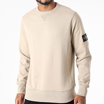 Calvin Klein - Sweat Crewneck Monogram Sleeve 4035 Beige