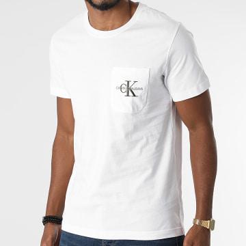 Calvin Klein - Tee Shirt Poche Monogram Embroidery 9098 Ecru