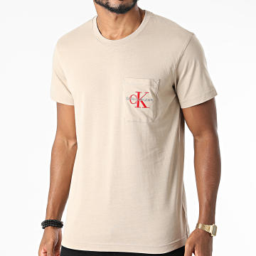 Calvin Klein - Tee Shirt Poche Monogram Embroidery 9098 Beige