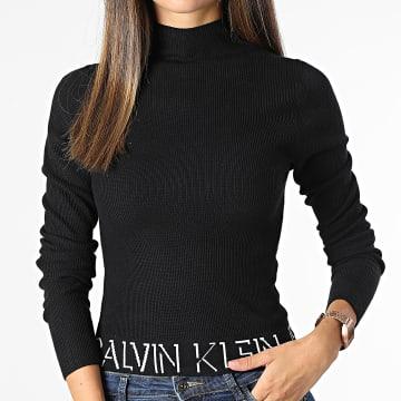 Calvin Klein - Tee Shirt Manches Longues Femme Crop 6604 Noir