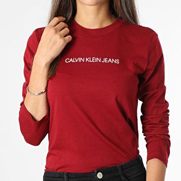 Calvin Klein - Tee Shirt Manches Longues Femme 7284 Bordeaux