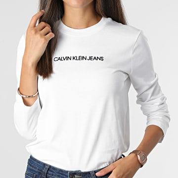 Calvin Klein - Tee Shirt Manches Longues Femme 7284 Blanc