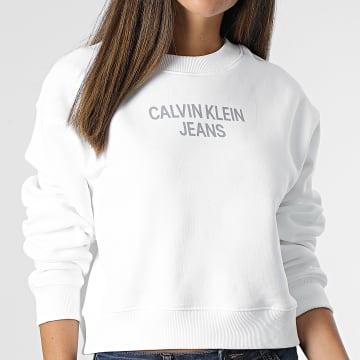 Calvin Klein - Sweat Crewneck Femme Crop 7298 Blanc