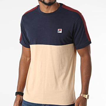 Fila - Tee Shirt A Bandes Cian Blocked 688985 Beige Bleu Marine