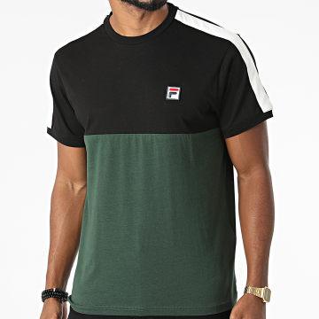 Fila - Tee Shirt A Bandes Cian Blocked 688985 Vert Noir