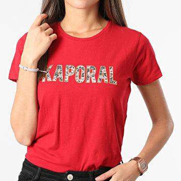 Kaporal - Tee Shirt Femme Derde Rouge Doré