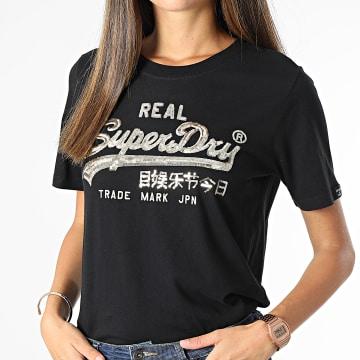 Superdry - Tee Shirt Femme Vintage Label Boho Sparkle Noir