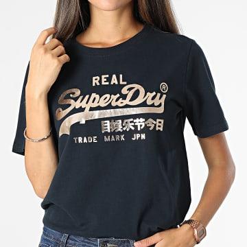 Superdry - Tee Shirt Femme Vintage Label Boho Sparkle Bleu Marine