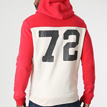 Superdry - Sweat Capuche Vintage Logo AC Colourblock M2011550A Rouge Beige