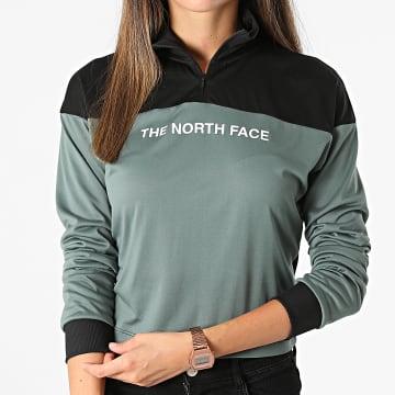 The North Face - Tee Shirt Manches Longues Femme Crop Zip Vert Kaki