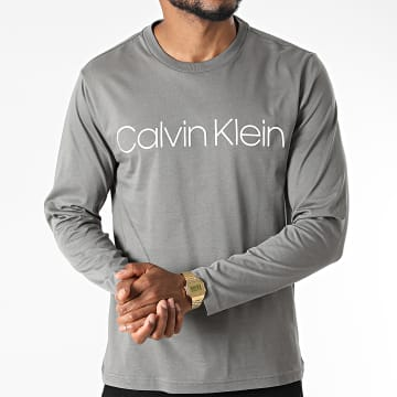 Calvin Klein - Tee Shirt Manches Longues Cotton Logo 4690 Gris