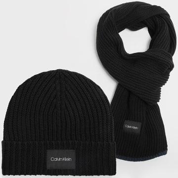 Calvin Klein - Coffret Echarpe Et Bonnet Contrast Edge 7499 Noir