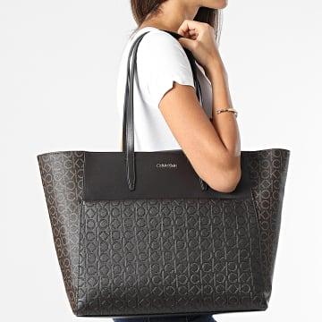Calvin Klein - Sac A Main Femme Mono Mix Shopper 8423 Marron