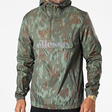 Ellesse - Coupe-Vent Capuche Aceras SHK13435 Vert Kaki Camouflage Réfléchissant