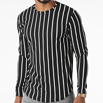 Frilivin - Tee Shirt Manches Longues Oversize A Rayures 15359 Noir