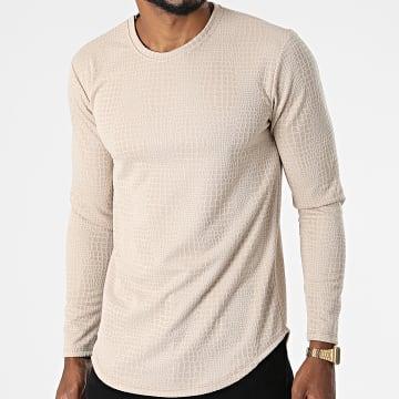 Frilivin - Tee Shirt Manches Longues Oversize 15370 Beige