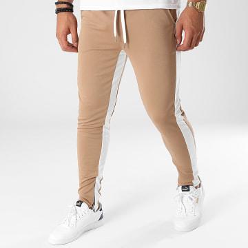 Frilivin - Pantalon Jogging A Bandes 1565 Beige Blanc