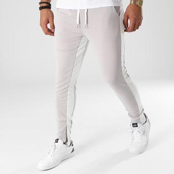 Frilivin - Pantalon Jogging A Bandes 1565 Gris Blanc