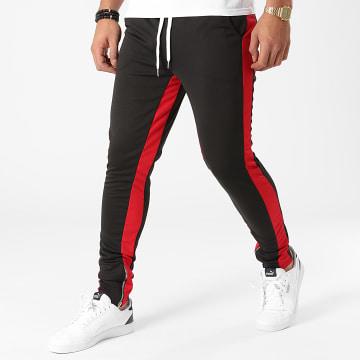 Frilivin - Pantalon Jogging A Bandes 1565 Noir Rouge