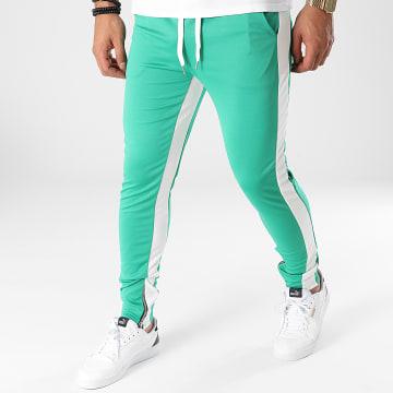 Frilivin - Pantalon Jogging A Bandes 1565 Vert Blanc