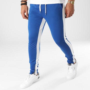 Frilivin - Pantalon Jogging A Bandes 1565 Bleu Roi Blanc