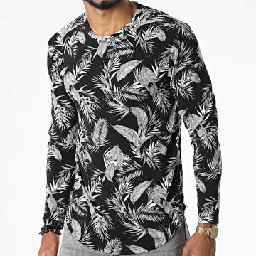 Frilivin - Tee Shirt Manches Longues Floral 15358 Noir Blanc