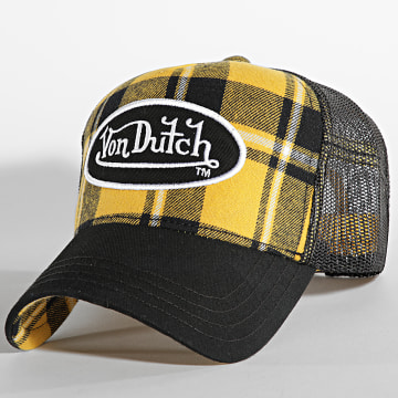 Von Dutch - Casquette Trucker Carreaux Jaune Noir
