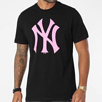 '47 Brand - Tee Shirt New York Yankees Imprint Echo Noir Rose Fluo