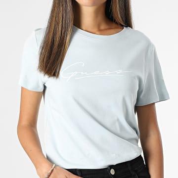 Guess - Tee Shirt Femme O1BA08 Bleu Ciel