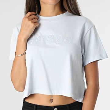 Guess - Tee Shirt Femme Crop O1GA06 Bleu Ciel