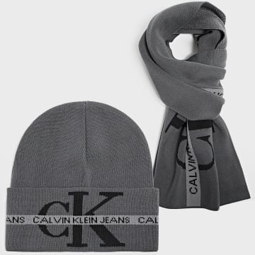 Calvin Klein - Coffret Echarpe Et Bonnet Tape 7569 Gris