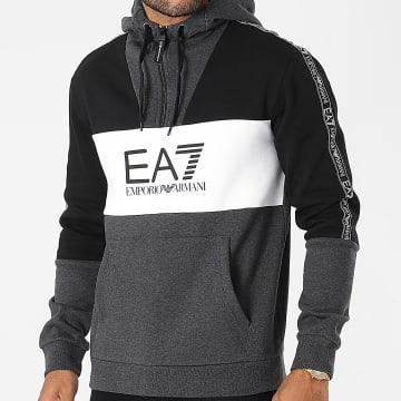 EA7 Emporio Armani - Sweat Capuche Col Zippé A Bandes 6KPM29-PJ07Z Noir Gris Anthracite
