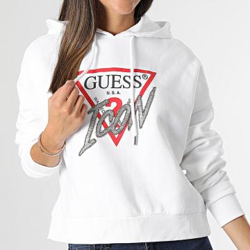 Guess - Sweat Capuche Femme Crop W1BQ09 bLANC