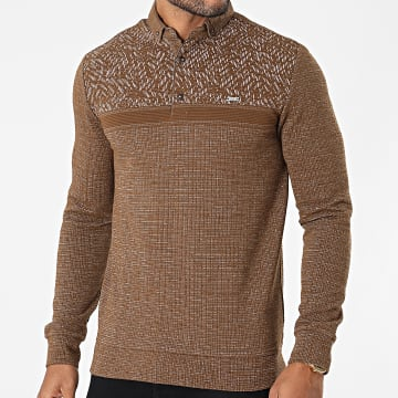 Classic Series - Polo Manches Longues 2039 Marron Chiné