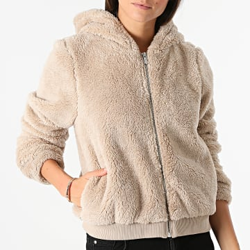 Only - Sweat Capuche Fourrure Synthétique Femme Anna Beige