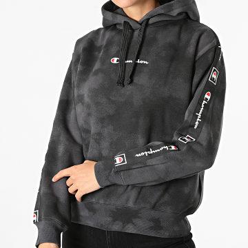 Champion - Sweat Capuche Femme A Bandes 114755 Noir