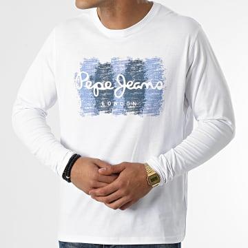 Pepe Jeans - Tee Shirt Manches Longues Sebastian PM507861 Blanc