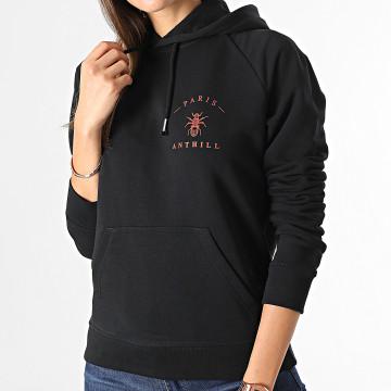 Anthill - Sweat Capuche Femme Chest Logo Noir Rouge