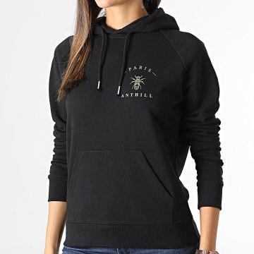 Anthill - Sweat Capuche Femme Chest Logo Noir Or
