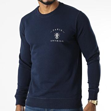 Anthill - Sweat Crewneck Chest Logo Bleu Marine Blanc