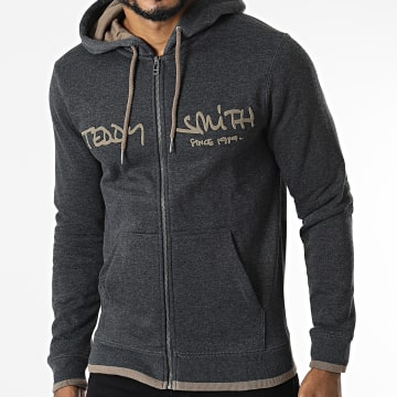 Teddy Smith - Sweat Capuche Siclass 10913638D Gris Anthracite Chiné