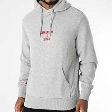 Superdry - Sweat Capuche Corporate Logo M2011406A Gris Chiné