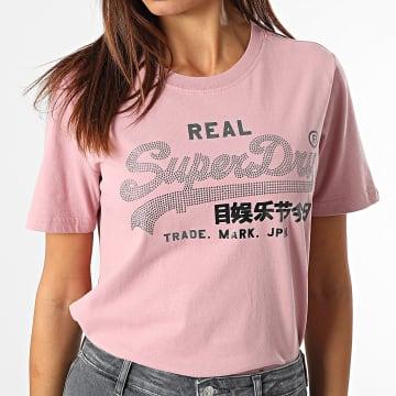 Superdry - Tee Shirt Femme Vintage Label Boho Sparkle Rose