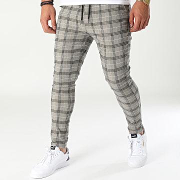 Uniplay - Pantalon A Carreaux T3658 Beige Chiné