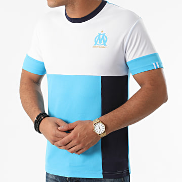 OM - Tee Shirt Polyester Fan M21006C Blanc Bleu Clair