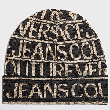 Versace Jeans Couture - Bonnet Allover Logo Noir Doré