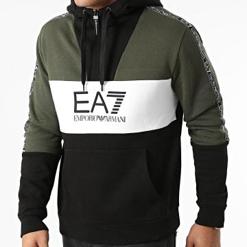 EA7 Emporio Armani - Sweat Capuche Col Zippé A Bandes 6KPM29-PJ07Z Noir Vert Kaki Blanc