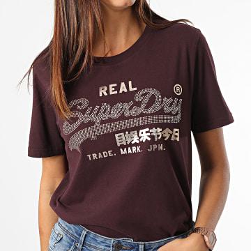 Superdry - Tee Shirt Femme Vintage Label Boho Sparkle Bordeaux